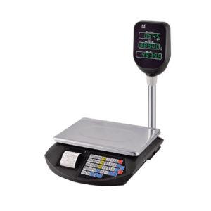 Фото торговых весов с вынесенной на стойку индикацией и печатью этикеток